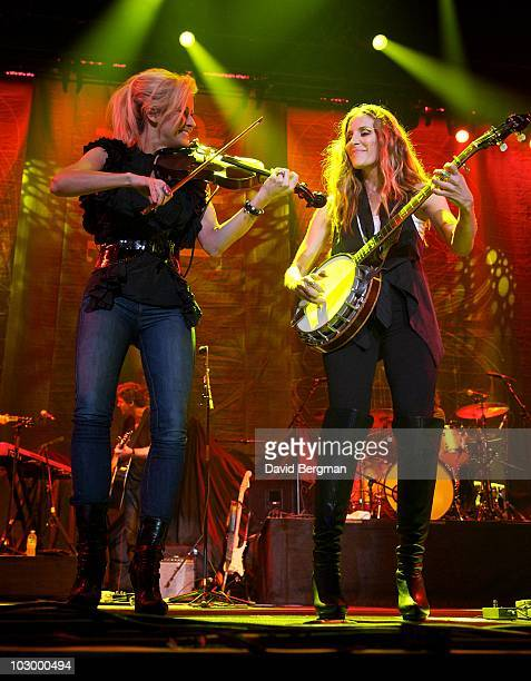 Martie Maguire and Emily Robison of the band Court Yard Hounds perform at the 2010 Lilith Fair at Target Center on July 18 2010 in Minneapolis...