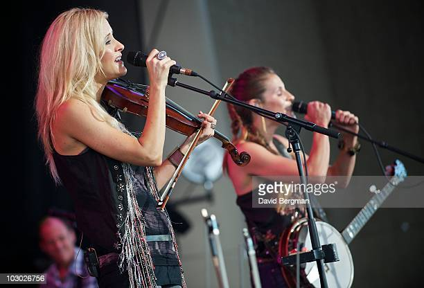 Martie Maguire and Emily Robison of the band Court Yard Hounds perform at the 2010 Lilith Fair at Verizon Wireless Music Center on July 20 2010 in...