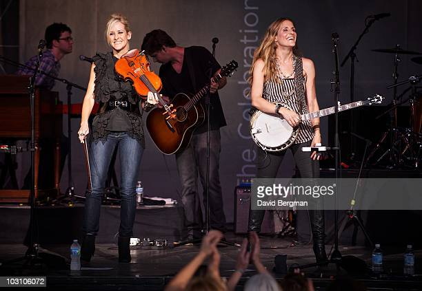 Martie Maguire and Emily Robison of the band Court Yard Hounds perform at the 2010 Lilith Fair at DTE Energy Center on July 21 2010 in Clarkston...