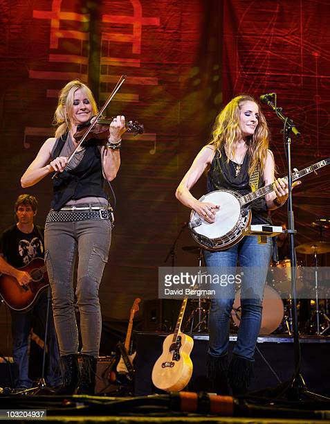 Martie Maguire and Emily Robison of the band Court Yard Hounds perform at the 2010 Lilith Fair at Blossom Music Center on July 27 2010 in Cuyahoga...