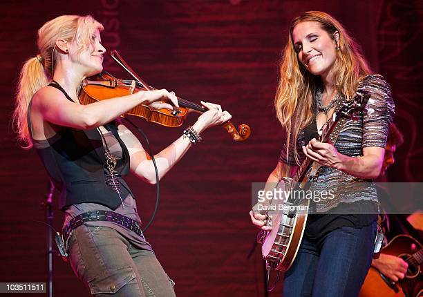 Martie Maguire and Emily Robison of the band Court Yard Hounds perform at the 2010 Lilith Fair at Merriweather Post Pavillion on August 3 2010 in...