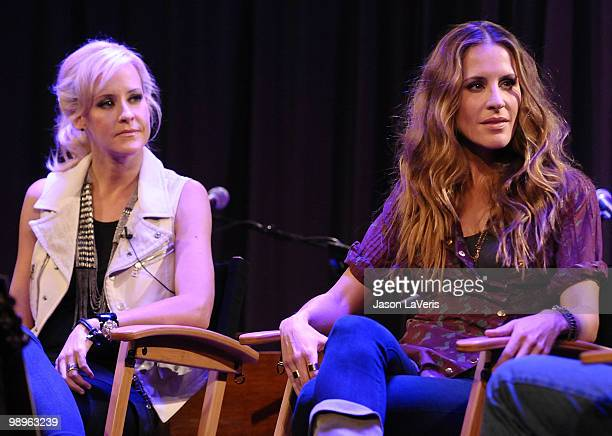 Martie Maguire and Emily Robison of The Court Yard Hounds onstage during a QA at The Grammy Museum on May 10 2010 in Los Angeles California