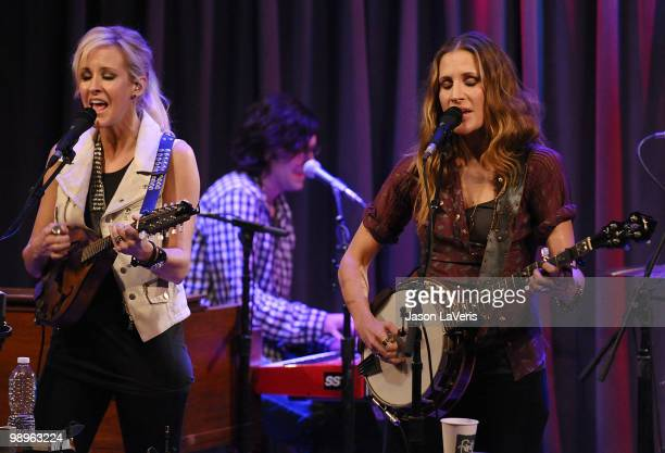 Martie Maguire and Emily Robison of The Court Yard Hounds perform at The Grammy Museum on May 10 2010 in Los Angeles California