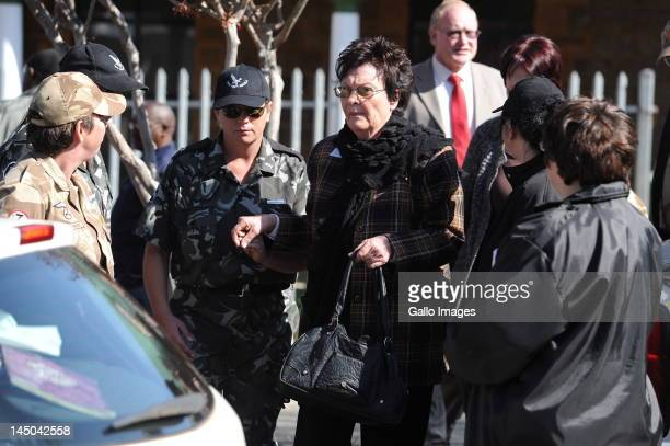 Martie Terre'Blanche outside the Ventersdorp magistrates court on May 22 2012 in Ventersdorp South Africa where Chris Mahlangu and Patrick Ndlovu...