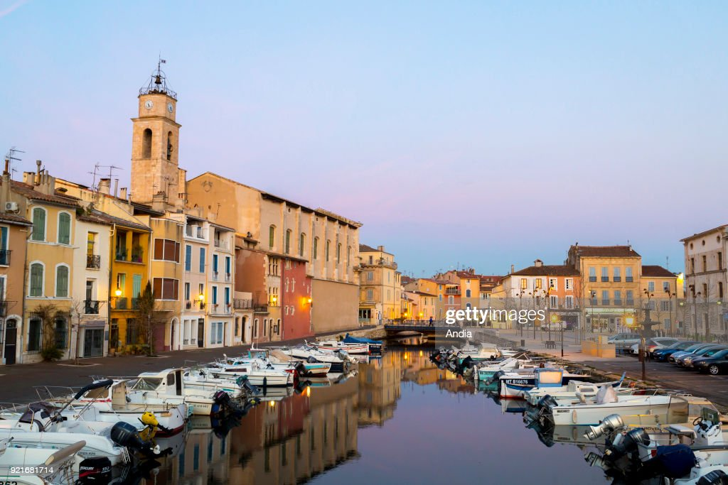 L'ile de Martigues District with its channels and the Church of Sainte-Marie-Madeleine.