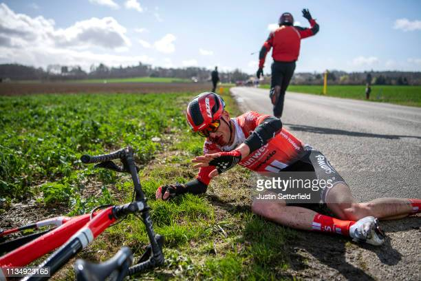 Martijn Tusveld of Netherlands and Team Sunweb crashes during Stage 1 of the 77th Paris Nice 2019 a 1385km race from Saint Germain en Laye to Saint...