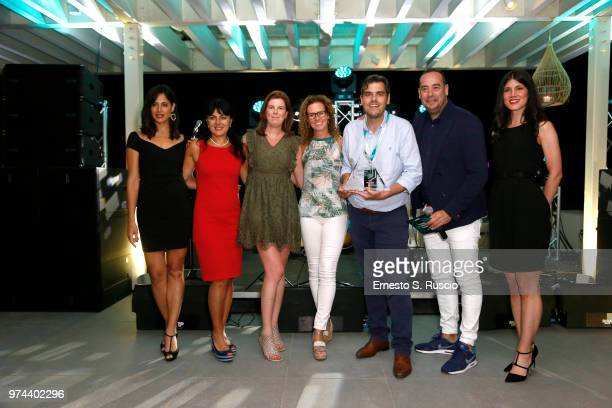Martijn van Lom and Ilijana Vavan pose with the winners during the Award Ceremony at the Kaspersky Lab European Reseller Summit 2018 on June 12 2018...