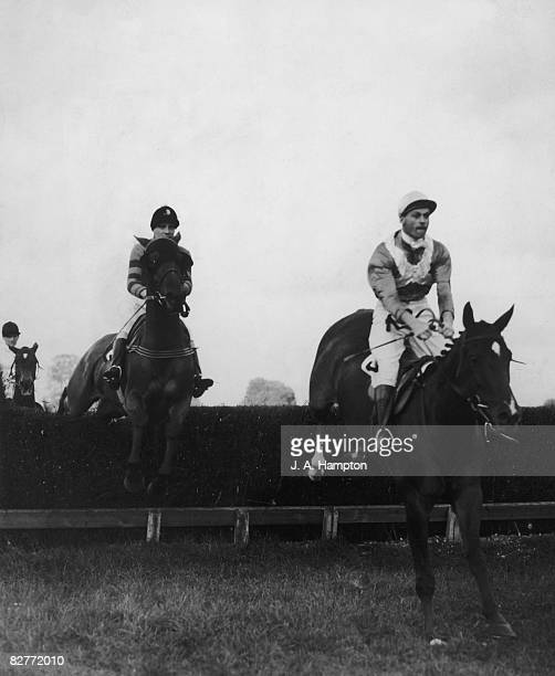 Martim M leads Monaveen over the second jump at Fontwell Park Racecourse West Sussex to win the Chichester Handicap Steeplechase 10th October 1949...