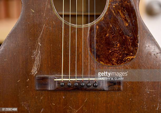 Martin 017 is on display during a press preview on February 24 2016 of its upcoming celebrity Guitar auction at the Bohemian National Hall in New...