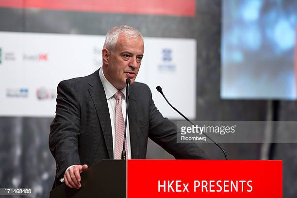 Martin Abbott outgoing chief executive officer of the London Metal Exchange speaks during the LME Week Asia 2013 Seminar in Hong Kong China on...