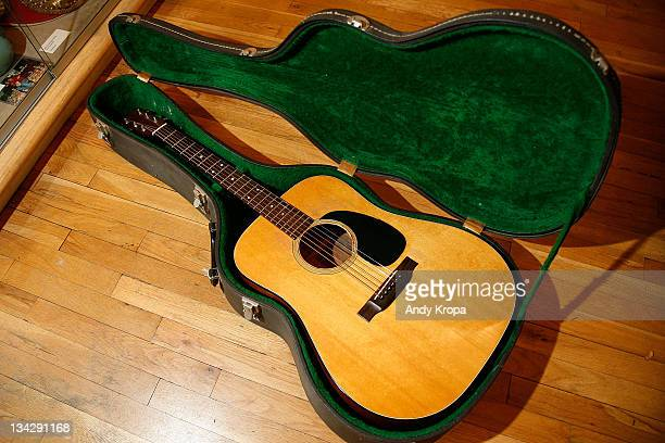 Martin acoustic guitar used by Bob Dylan on display at the GOTTA HAVE IT Rock Roll Pop Culture Auction Press Preview>> at the Gotta Have It store on...