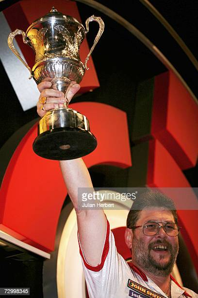 Martin Adams of England celebrates landing the BDO World Darts Championships at the Lakeside Country Club on January 14 Frimley Green England