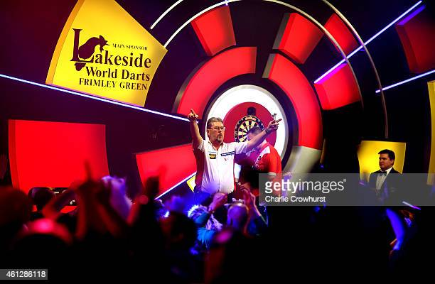 Martin Adams of England celebrates winning his semi final match against Glen Durrant of England during the BDO Lakeside World Professional Darts...