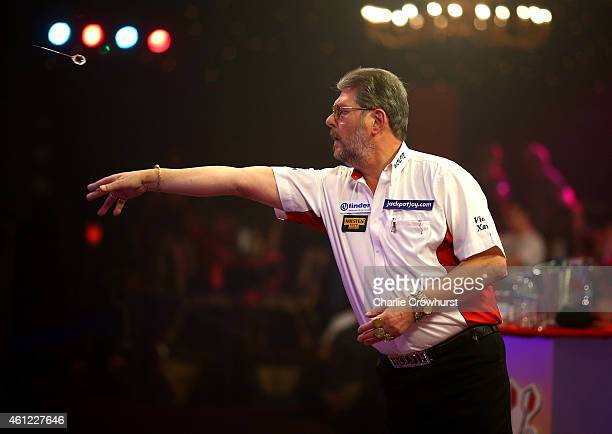 Martin Adams of England in action during his quarter final match against Ross Montgomery of Scotland during the BDO Lakeside World Professional Darts...