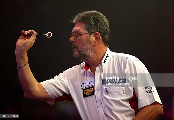 Martin Adams of England in action during his semi final match against Glen Durrant of England during the BDO Lakeside World Professional Darts...