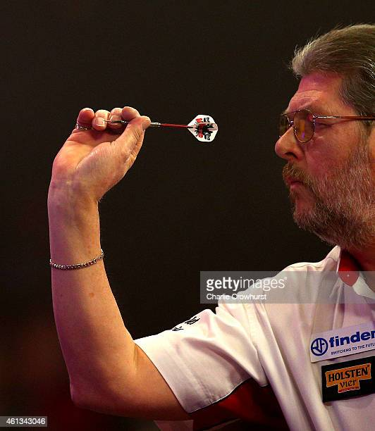Martin Adams of England in action during the mens final match against Scott Mitchell of England during the BDO Lakeside World Professional Darts...