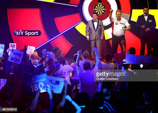 Martin Adams of England makes his entrance during the mens final match against Scott Mitchell of England during the BDO Lakeside World Professional...