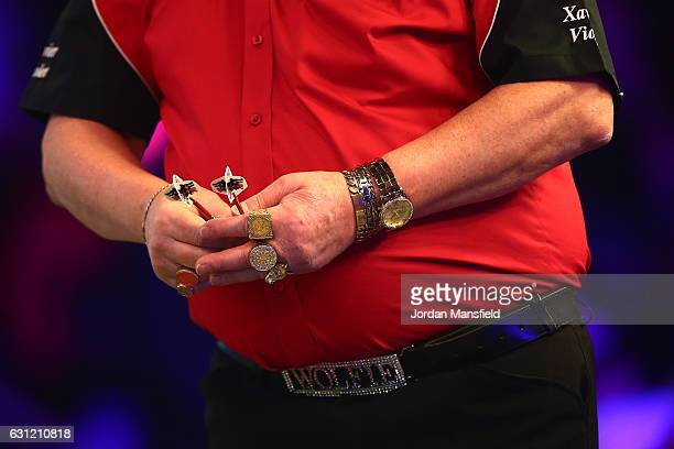 Martin Adams of England prepares to throw during his Men's First Round match against Ryan Joyce of England on Day Two of the BDO Lakeside World...