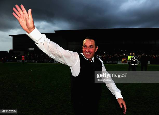 Martin Allen Manager of Barnet celebrates after his team win promotion during the Vanarama Football Conference League match between Barnet and...