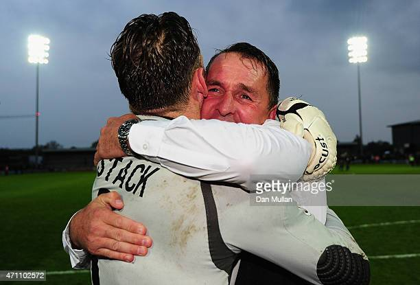Martin Allen Manager of Barnet celebrates with Graham Stack of Barnet after his team win promotion during the Vanarama Football Conference League...