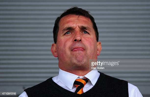 Martin Allen Manager of Barnet looks on during the Vanarama Football Conference League match between Barnet and Gateshead at The Hive on April 25...