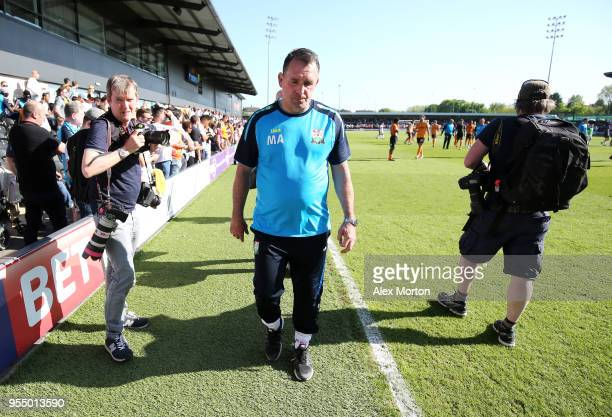 Martin Allen Manager of Barnet walks off the pitch after the Sky Bet League Two match between Barnet and Chesterfield at The Hive on May 5 2018 in...