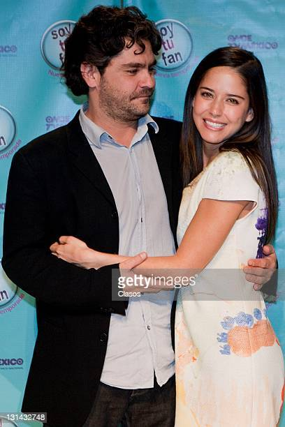 Martin Altomaro Ana Claudia Talancon during the press conference to present the second season of Soy Tu Fan Oncetv on october 10 2011 in Mexico City...