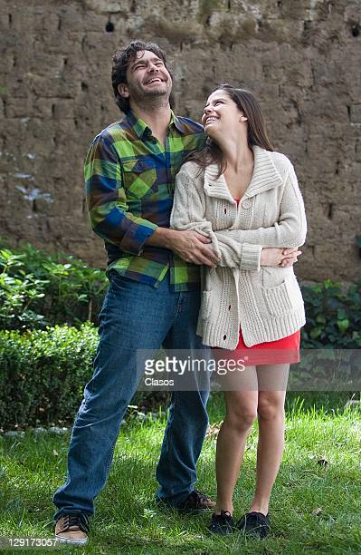 Martin Altomaro and Ana Claudia Talancon during the location of the television serie Soy Tu Fan on 12 october 2011 in Mexico City Mexico