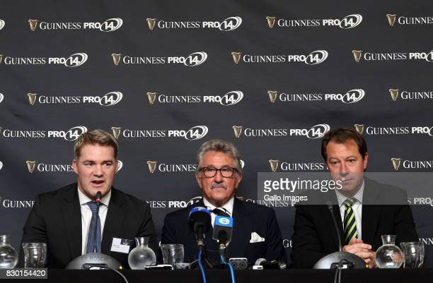 Martin Anayi Gerald Davies and Jurie Roux during the South African launch of Guinness PRO14 at Southern Sun Cullinan on August 11 2017 in Cape Town...