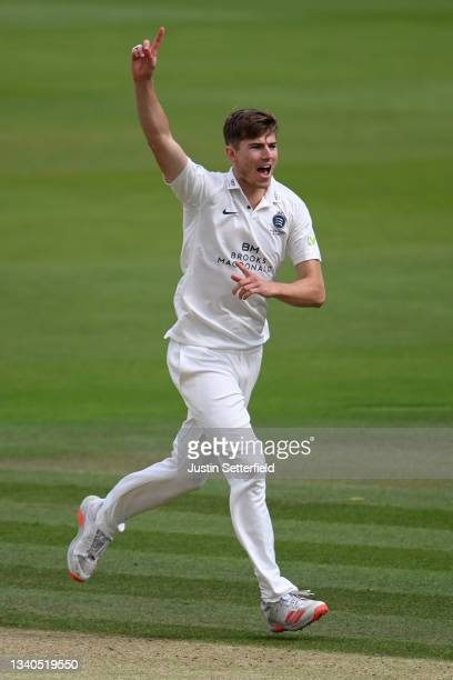 Martin Andersson of Middlesex celebrates after taking the wicket of Ed Barnard of Worcestershire during the LV= Insurance County Championship match...