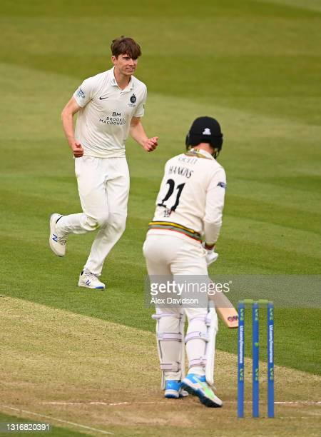 Martin Andersson of Middlesex celebrates taking the wicket of George Hankins of Gloucestershire during Day Two of the LV= Insurance County...