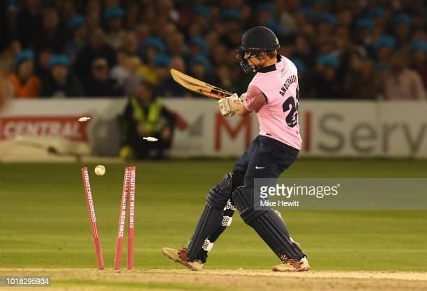 Martin Andersson of Middlesex is bowled by Jofra Archer of Sussex during the Vitality Blast match between Sussex Sharks and Middlesex at The 1st...
