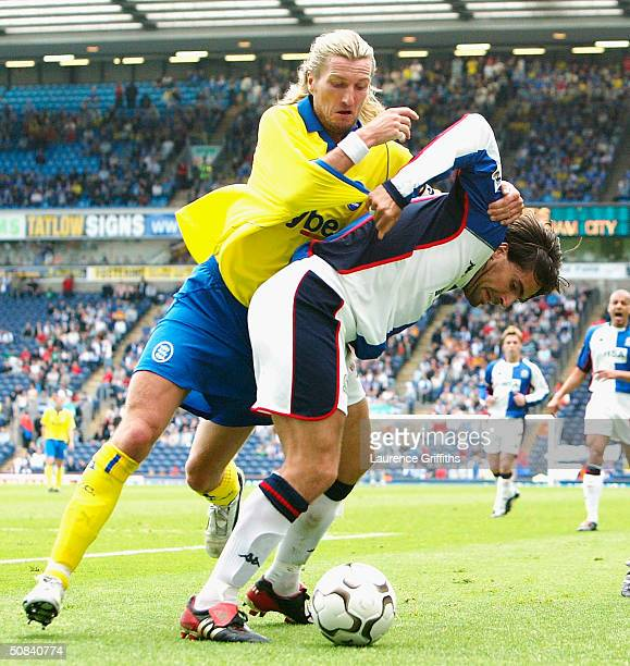 Martin Andresen of Blackburn battles with Robbie Savage of Birmingham during the FA Barclaycard Premiership match between Blackburn Rovers and...