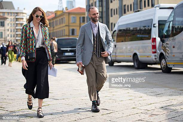 Martin Angelo Flaccavento outside the Gucci show during Milan Fashion Week Spring/Summer 2017 on September 21 2016 in Milan Italy