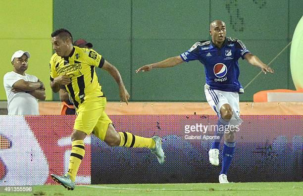 Martin Arzuaga of Alianza Petrolera celebrates a goal scored to Millonarios during a match between Alianza Petrolera and Millonarios as part of 15th...