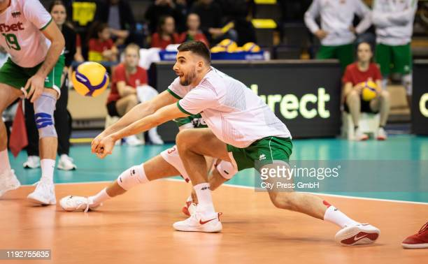Martin Atanasov of Team Bulgaria during the Volleyball European Qualification match between Bulgaria and Germany at MaxSchmelingHalle on January 9...