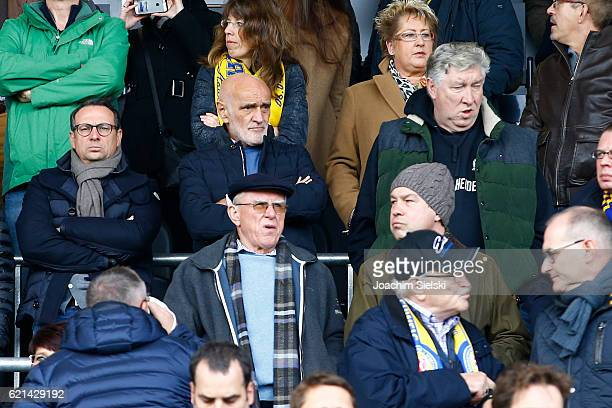 Martin Bader Martin Kind and Dieter Schatzschneider of Hannover during the Second Bundesliga match between Eintracht Braunschweig and Hannover 96 at...