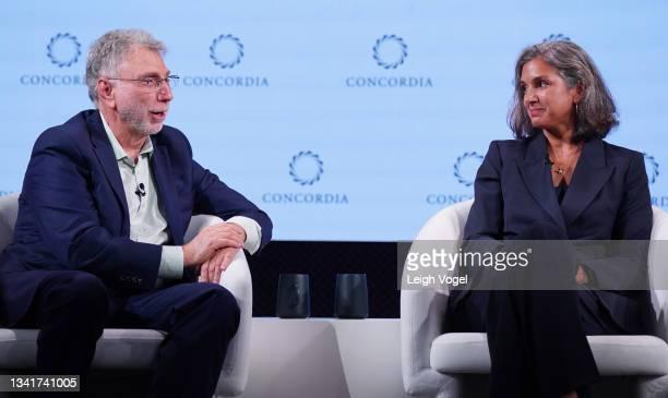 Martin Baron, Former Executive Editor, The Washington Post, and Radhika Jones, Editor-in-Chief, Vanity Fair, speak onstage during the 2021 Concordia...