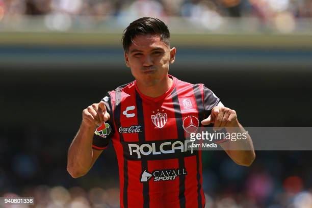 Martin Barragan of Necaxa celebrates after scoring the first goal of his team during the 13th round match between Pumas UNAM and Necaxa as part of...