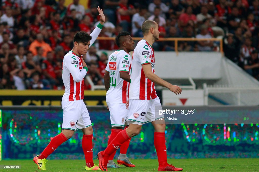 Martin Barragan (L) of Necaxa celebrates with teammates after scoring the first goal of his team during the 7th round match between Atlas and Necaxa as part of the Torneo Clausura 2018 Liga MX at Jalisco Stadium on February 13, 2018 in Guadalajara, Mexico.