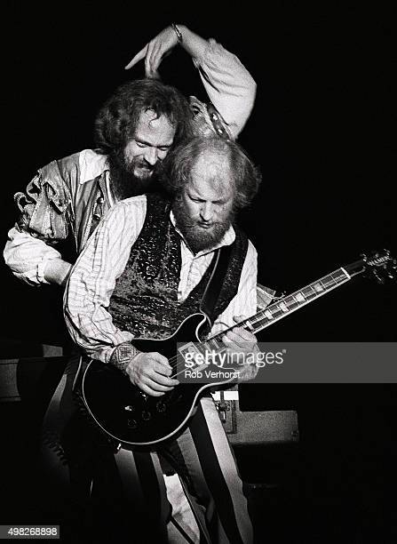 Martin Barre and Ian Anderson of Jethro Tull perform on stage at Congresgebouw The Hague Netherlands 15th March 1980