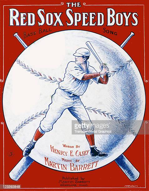 Martin Barrett publishing company uses a profile of a left-handed batter to sell the sheet music entitled Red Sox Speed Boys, published in 1907 in...