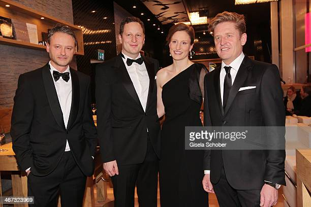 Martin Bayer Prince Georg Friedrich Ferdinand Prussia Princess Sophie of Prussia and Wayne Griffiths pose inside the AUDI Lounge at the Marlene...