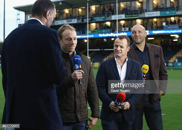 Martin Bayfield Chris Pennell Austin Healy and Ben Kay of BT Sport look on during the Aviva Premiership match between Worcester Warriors and...