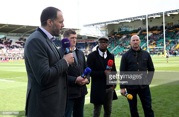 Martin Bayfield L Stuart Hooper and Ugo Monye and Lawerence Dallaglio face the BT Sport cameras during the Aviva Premiership match between...