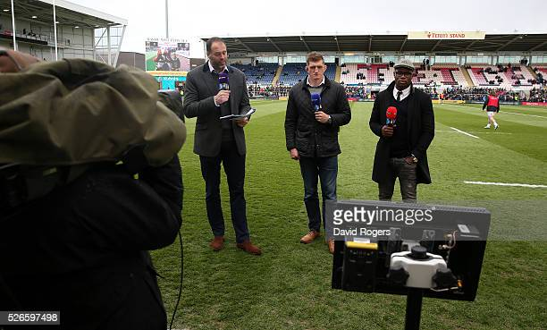 Martin Bayfield L Stuart Hooper and Ugo Monye face the BT Sport cameras during the Aviva Premiership match between Northampton Saints and Bath at...