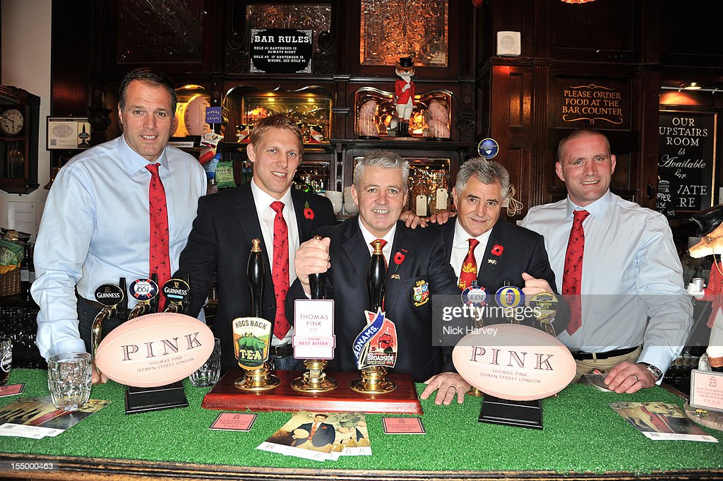 Martin Bayfield, Lewis Moody, Warren Gatland, Andy Lrvine and Phil Vickery attend the Thomas Pink Presents The Pink Lion launch event on October 30, 2012 in London, England.