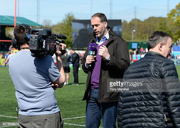 Martin Bayfield of BT Sport with TV cameras during the Aviva Premiership match between Saracens and Newcastle Falcons at Allianz Park on May 1 2016...