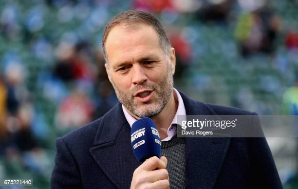 Martin Bayfield the BT Sport Rugby presenter looks on during the Aviva Premiership match between Bath and Gloucester at the Recreation Ground on...