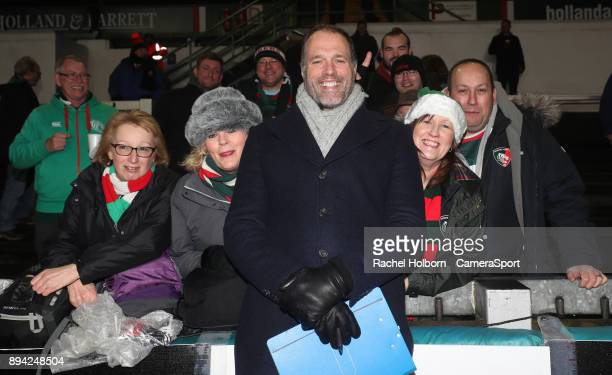 Martin Bayfield with Tigers fans pre match during the European Rugby Champions Cup match between Leicester Tigers and Munster Rugby at Welford Road...